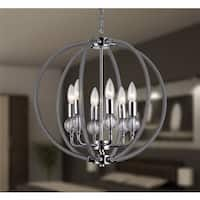 Gia 6-light Clear 18-inch Chrome-finish Chandelier