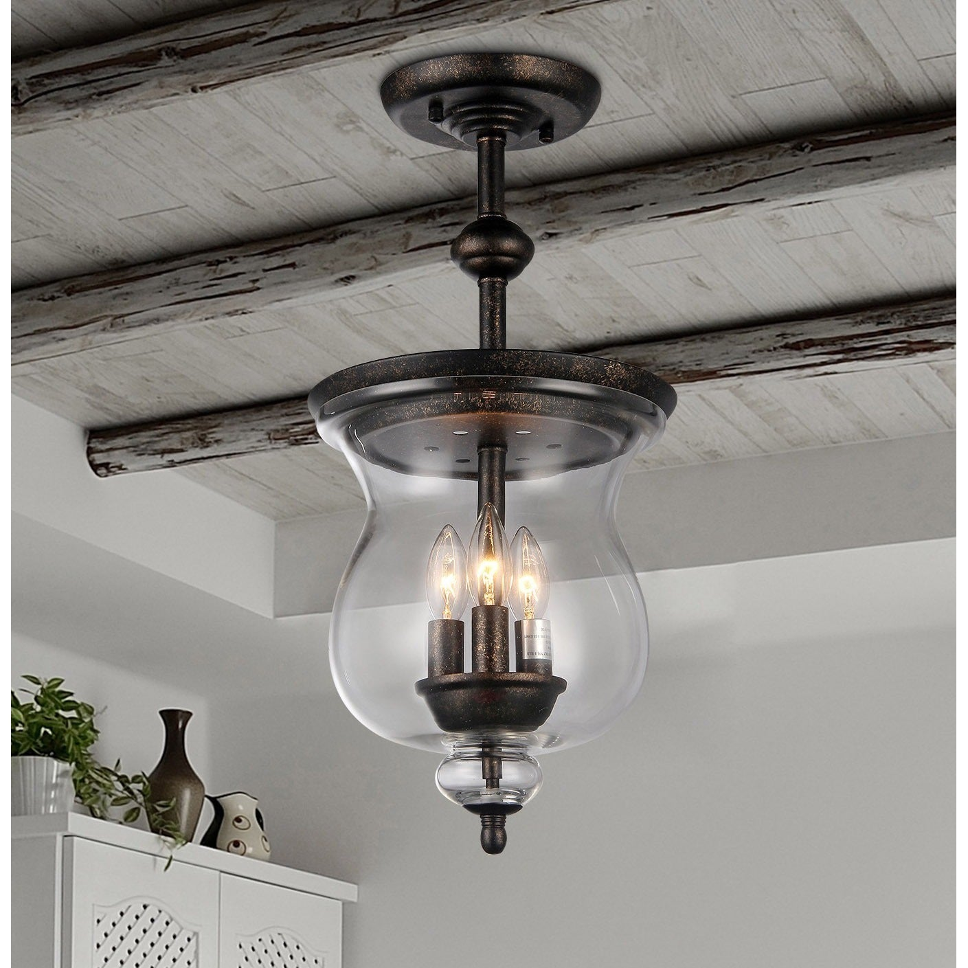 Madigan 3 Light Clear Glass 10 Inch Antique Pendant Lamp On Sale Overstock 11512121