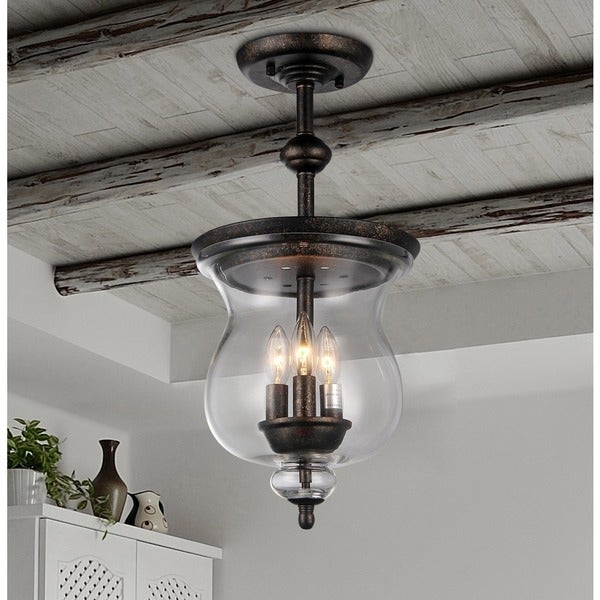 Shop Madigan 3-light Clear Glass 10-inch Antique Pendant