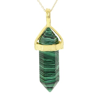 Fox and Baubles Gold Overlay Simulated Malachite Crystal Necklace