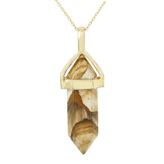 Fox and Baubles Gold Overlay Picture Jasper Necklace