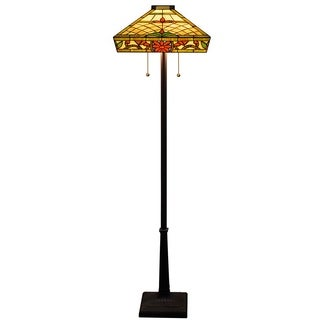 Trixie 2-light Floral-pattern 18-inch Tiffany-style Floor Lamp