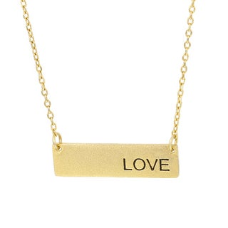 Fox and Baubles Gold Overlay Love Plate Necklace