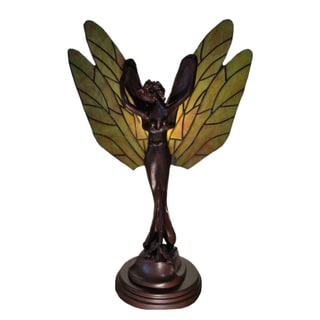 Leandra 1-light Angel Stained Glass 22-inch Tiffany-style Table Lamp