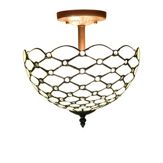 Byanca 2-light Off-white 12-inch Tiffany-style Jeweled Ceiling Lamp