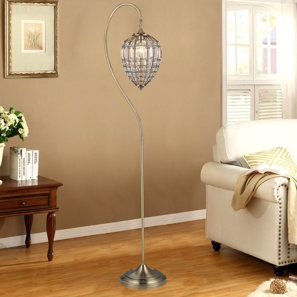 Nayda 1-light Crystal 64-inch Brass-finish Floor Lamp
