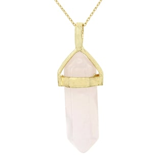 Fox and Baubles Gold Overlay Pink Quartz Crystal Necklace