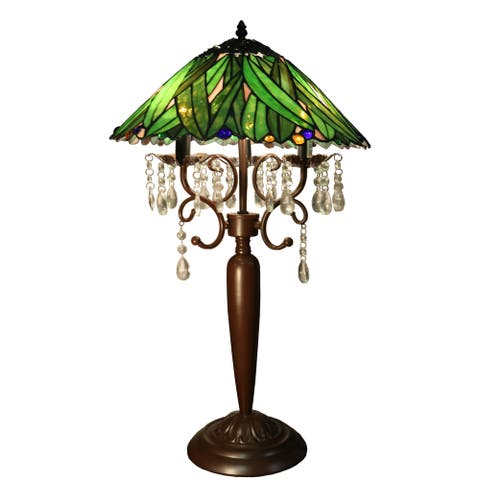Cindy 3-light Green 16-inch Geometric Tiffany-style with Crystals Table Lamp