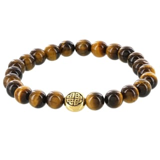 Fox and Baubles Brass Men's Tiger Eye Eternity Bead Stretch Bracelet