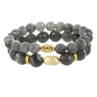 Fox and Baubles Brass Double Faceted Labrodite Oval Peace Beaded Stretch Bracelet