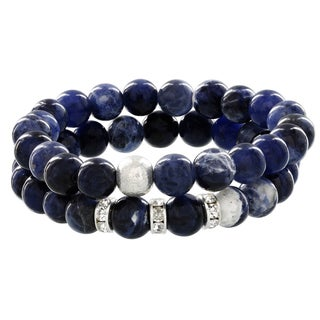 Fox and Baubles Sterling Silver Double Sodalite Brushed Bead with Crystal Spacer Bracelet