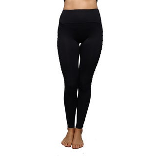 Women's Side Rouche Panel Solid Athletic Leggings