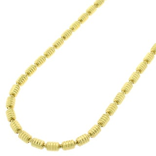 Yellow Gold over Silver 3mm Diamond-cut Barrel Necklace