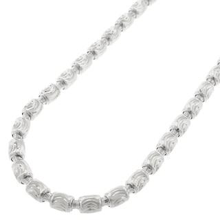 Sterling Silver 4mm Fancy Moon-cut Barrel Necklace Chain