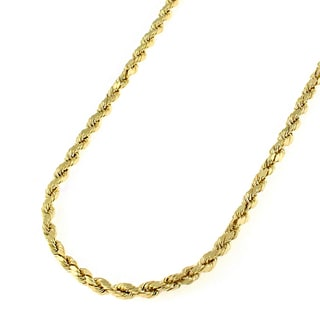 14k Yellow Gold Men's 2mm Solid Rope Diamond-cut Chain Necklace