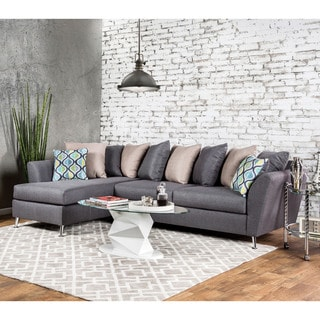 Furniture of America Shaylee Contemporary Grey Fabric Sectional