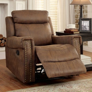 Furniture of America Camille Transitional Brown Upholstered Recliner