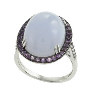 Sterling Silver 1/10ct TDW Diamond and Gemstone Ring (I-J, SI1-SI2)
