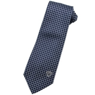 Versace 100-percent Italian Silk Blue Pattern 3-inch Wide Neck Tie