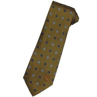 Versace 100-percent Italian Silk 3-inch Wide Burnt Gold/ Blue Floral Neck Tie
