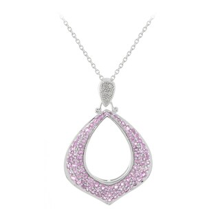 Sonia Bottin Sterling Silver 2 1/2ct TGW Pink Sapphire and Diamond Accent Necklace (I-J, SI1-SI2)