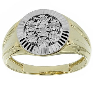 10k Yellow Gold Men's 1/10ct TDW Diamond Ring (G-H, SI1-SI2)