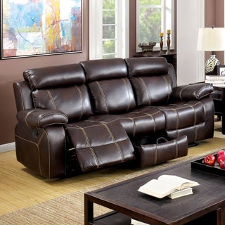 Furniture of America Landell Transitional Brown Leatherette Reclining Sofa