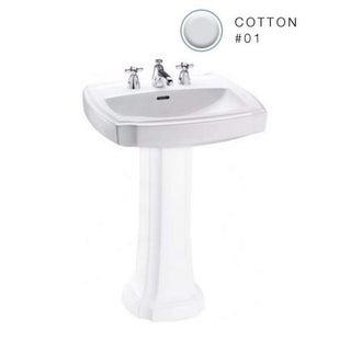 Toto Guinevere Pedestal Vitreous China Bathroom Sink LT972.8#01 Cotton White