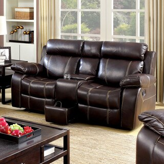 Furniture of America Landell Transitional Brown Leatherette Reclining Loveseat with Console