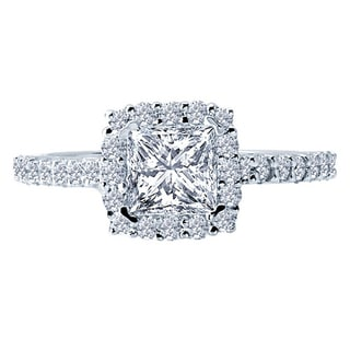 14k White Gold 3/4ct TDW Diamond and Cubic Zirconia Center Engagement Ring (H-I, SI1-SI2)