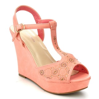Beston Cc31 T-strap Wedge Sandals