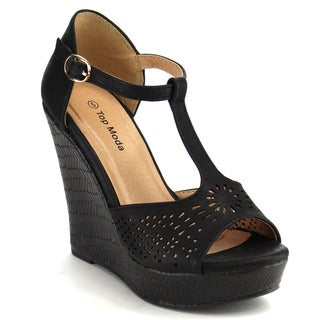 Beston Cc21 T-strap Wedge Sandals