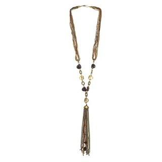 Alexa Starr Mutli-strand Goldtone Seed Bead Tassel Necklace