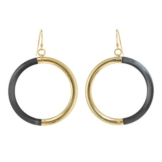 Alexa Starr Two Tone Drop Hoop Earrings