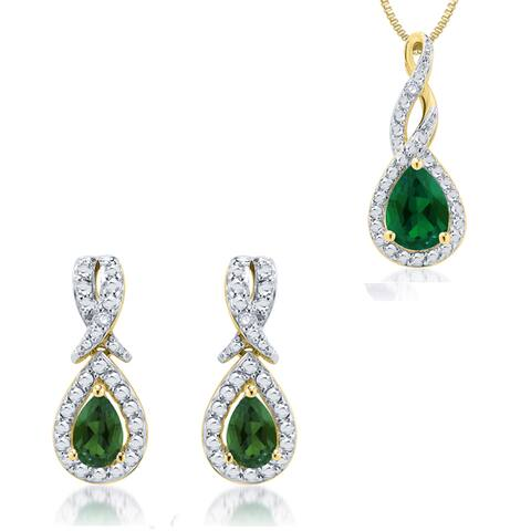Divina 14k Yellow Gold over Brass Emerald and Diamond Accent 2-piece Jewelry Set (I-J, I2-I3)