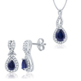 Divina Rhodium over Brass Created Blue Sapphire and Diamond Accent Jewelry Set (I-J, I2-I3)