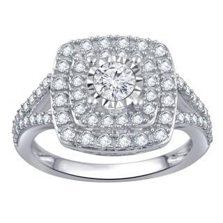 Divina 10k White Gold 1ct TDW White Diamond Double Halo Fashion Ring (H-I, I1-I2)