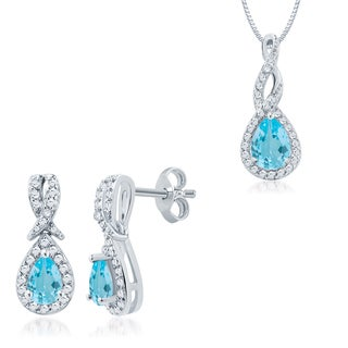 Divina Rhodium over Brass Blue Topaz and Diamond 2-piece Jewelry Set (I-J, I2-I3)