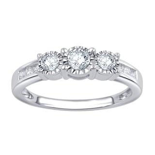 Divina 10k White Gold 1/2ct TDW 3-stone Diamond Ring (I-J, I2-I3)