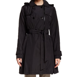 Laundry by Shelli Segal Black Skirted Trench Coat