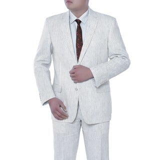 Verno Domenico Men's White Chalk Stripe Classic Fit Linen Italian Style 2-piece Suit