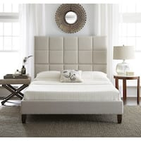 Sleep Sync Quincy Upholstered Linen Platform-Slat Bed Complete