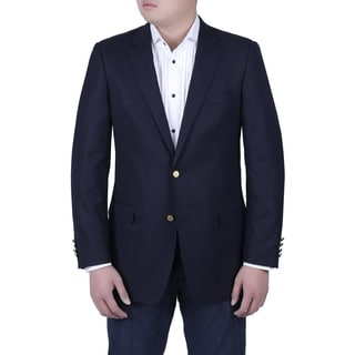Verno Tommasco Men's Navy Classic Fit Blazer with Brass Buttons