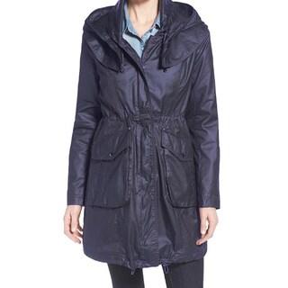 Laundry By Shelli Segal Navy Blue Wax Rain Coat