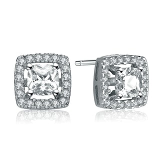 Collette Z Sterling Silver Oval Cubic Zirconia Solitaire with Square Halo Earrings