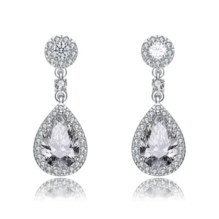 Collette Z Sterling Silver Pear Drop Cubic Zirconia with Circle Post Earrings