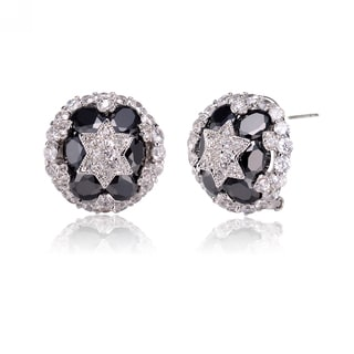Collette Z Sterling Silver Cubic Zirconia Midnight Round Earrings