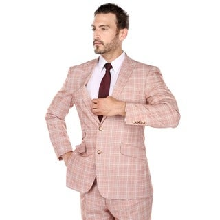 Verno Francesco Men's Red and Parchment Glen Plaid Classic Fit Italian Style Pic-Stitch Peak Lapel Suit