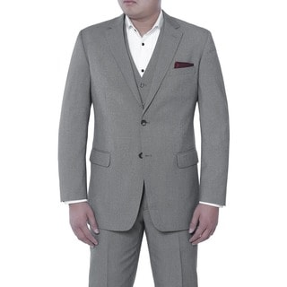 Verno Men's Piero Grey and Black Birdseye Textured Classic Fit Italian Style 3-piece Suit
