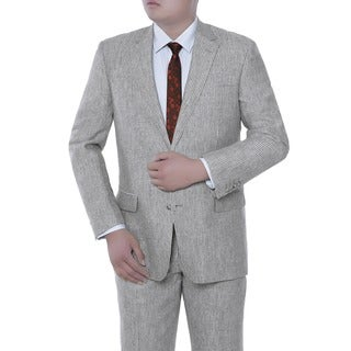 Verno Lorenzo Men's Grey Chalk Stripe Classic Fit Italian Style 2-piece Suit